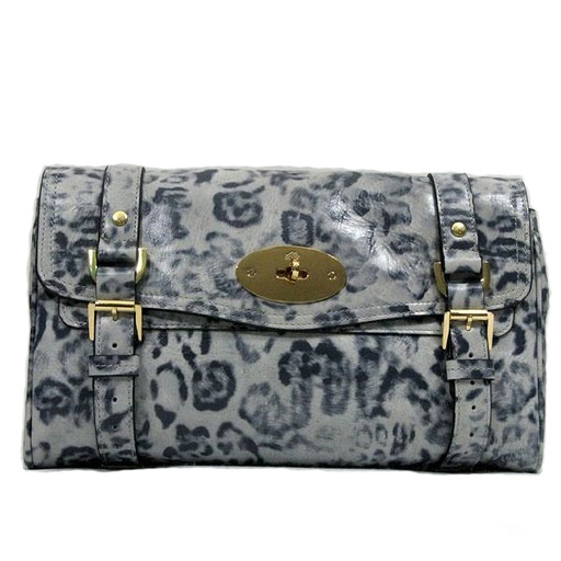 Mulberry Alexa Clutch Bag Soft Leather White Leopard