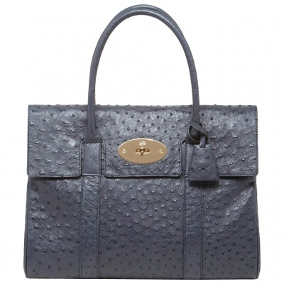 Mulberry Bayswater HandBag Ostrich Leather Blue