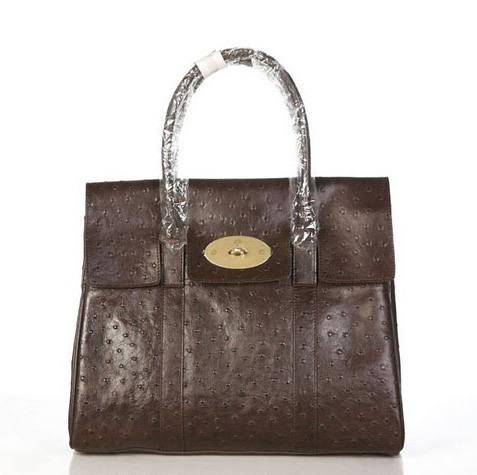 Mulberry Bayswater HandBag Ostrich Leather Chocolate