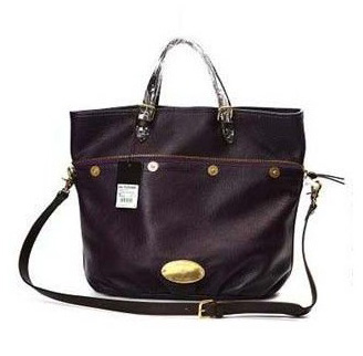 Mulberry Mitzy Tote Bag Pebbled Leather Purple
