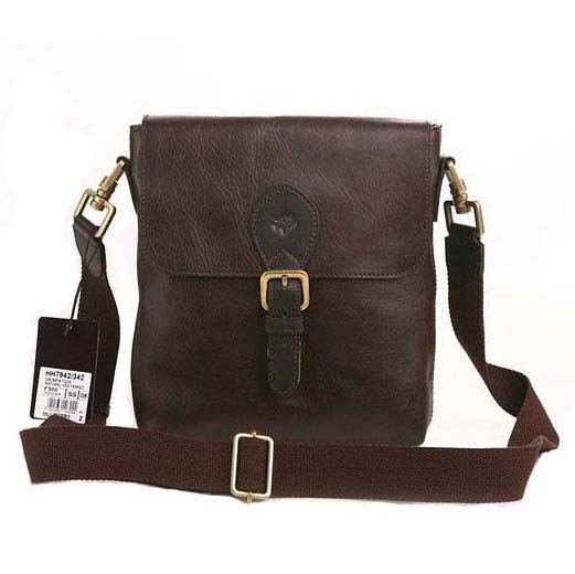 Mulberry Albert Messenger Bag Pebbled Leather Chocolate