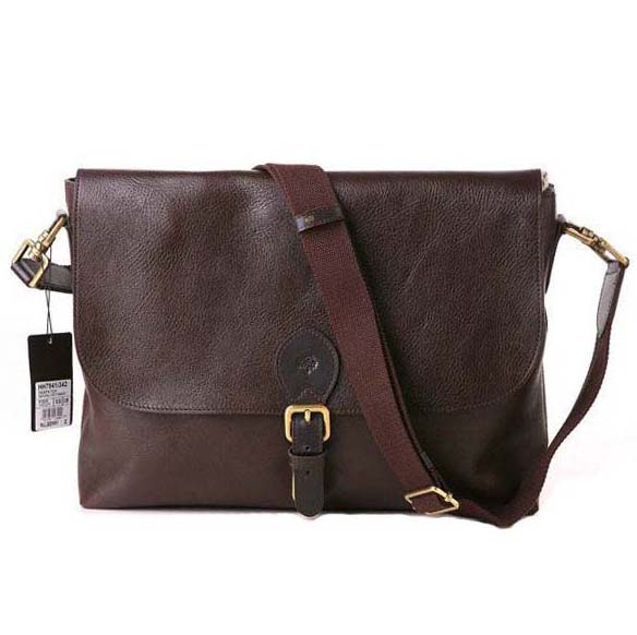 Mulberry Albert Stachel Messenger Bag Pebbled Leather Chocolate