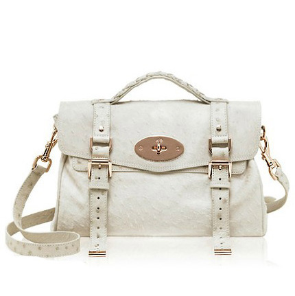 Mulberry Alexa Bag Ostrich Leather White