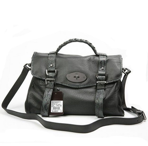 Mulberry Alexa Bag With Snake Strap Black