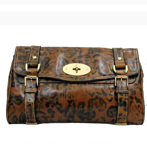 Mulberry Alexa Clutch Bag Soft Leather Brown Leopard