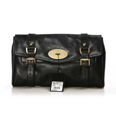 Mulberry Alexa Clutch Bag Natural Leather Black