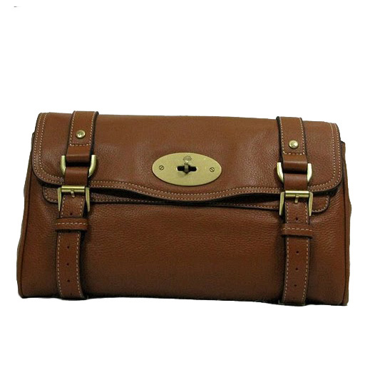 Mulberry Alexa Clutch Bag Natural Leather Brown
