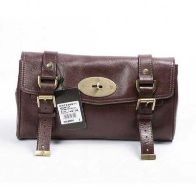 Mulberry Alexa Clutch Bag Natural Leather Chocolate