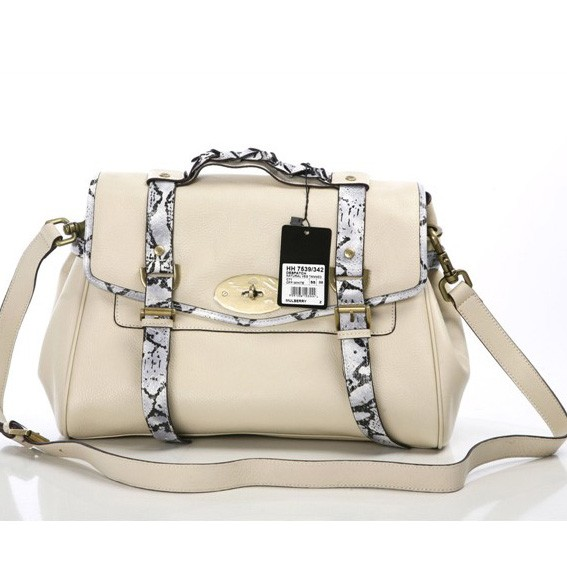 Mulberry Alexa Bag With Snake Strap Nude