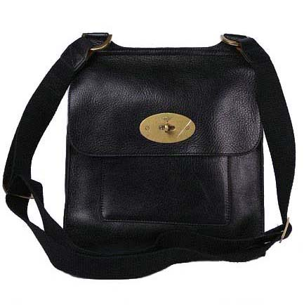 Mulberry Anothy Messenger Bag Pebbled Leather Black