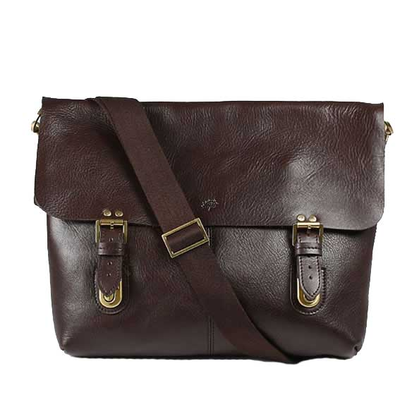 Mulberry Barnaby Messenger Bag Natural Leather Chocolate
