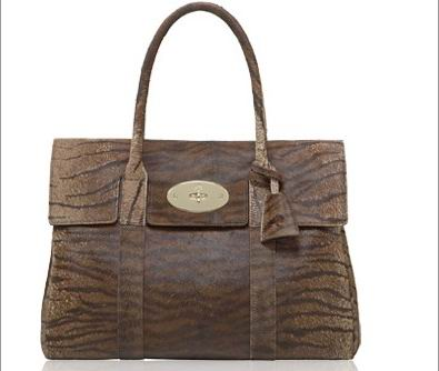 Mulberry Bayswater HandBag Bengal Tiger Haircalf Leather Oak