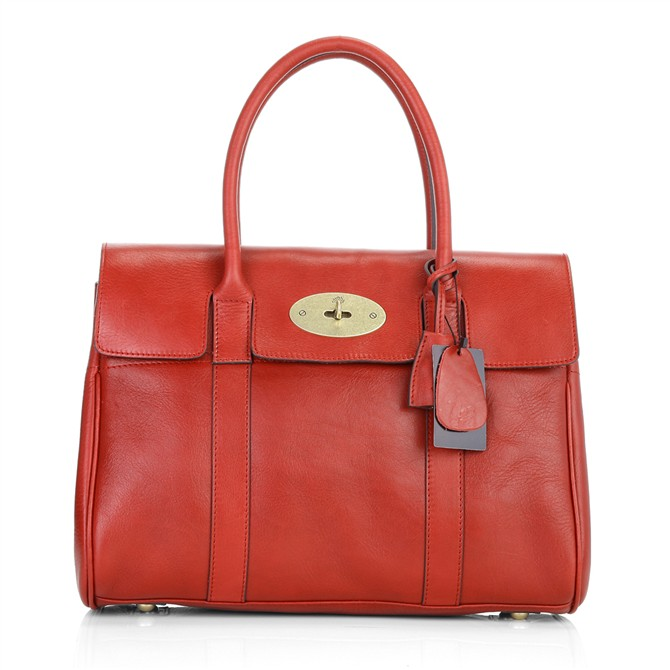 Mulberry Bayswater HandBag Natural Leather Red