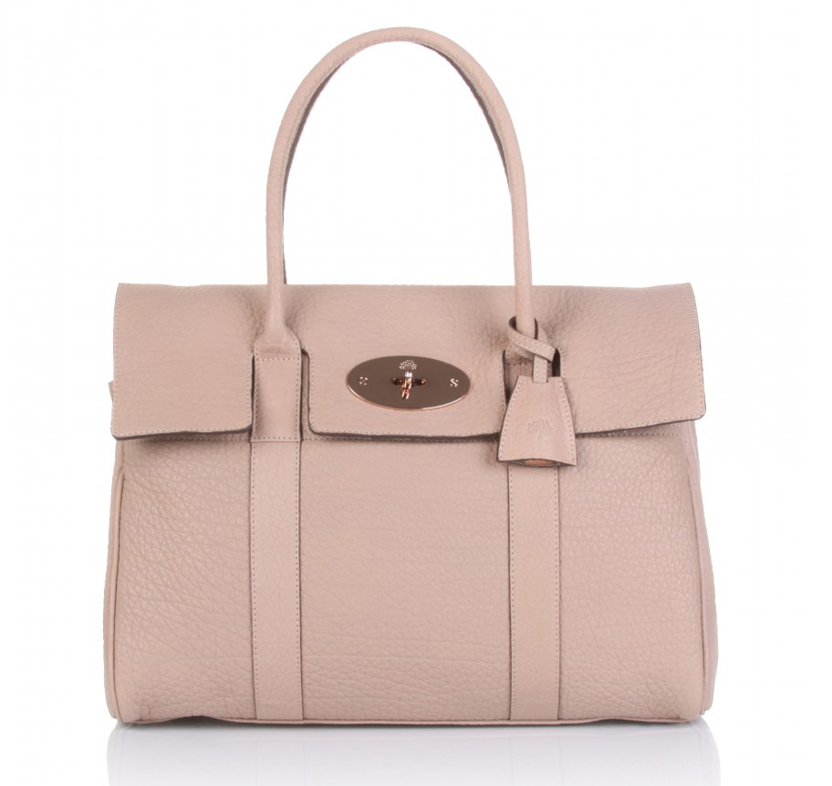 Mulberry Bayswater HandBag Maxi Grain Natural Leather Pink