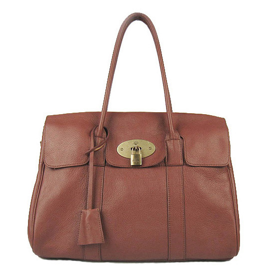 Mulberry Bayswater HandBag Natural Leather Red Brown