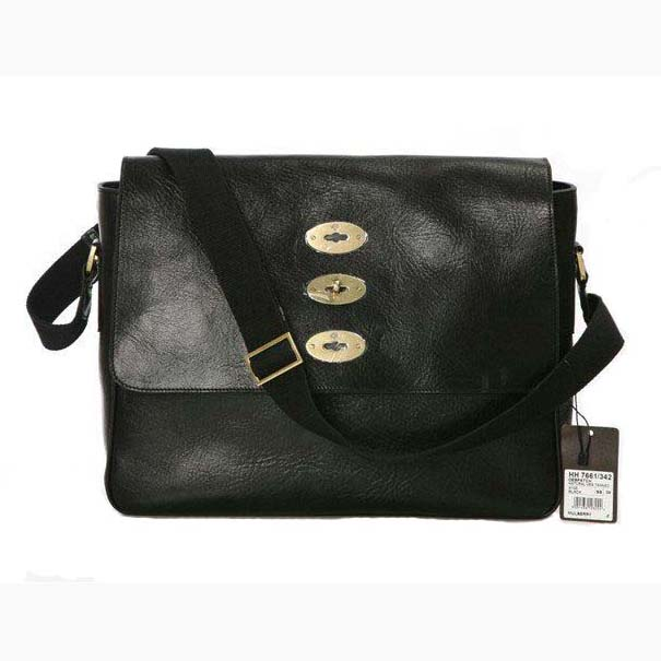 Mulberry Brynmore Messenger Bag Natural Leather Black
