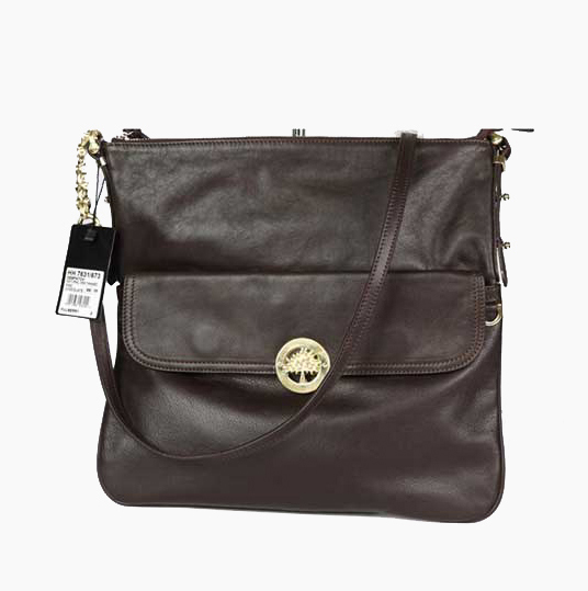 Mulberry Drew Messenger Bag Natural Leather Chocolate