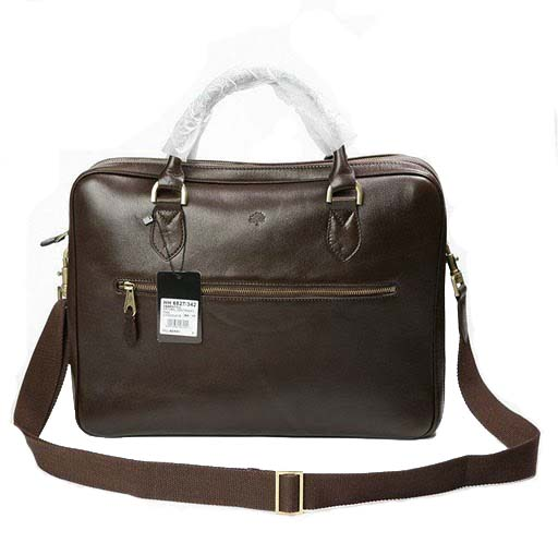 e0ec53f67d Mulberry Heathcliffe Briefcase Bag Natural Leather Chocolate