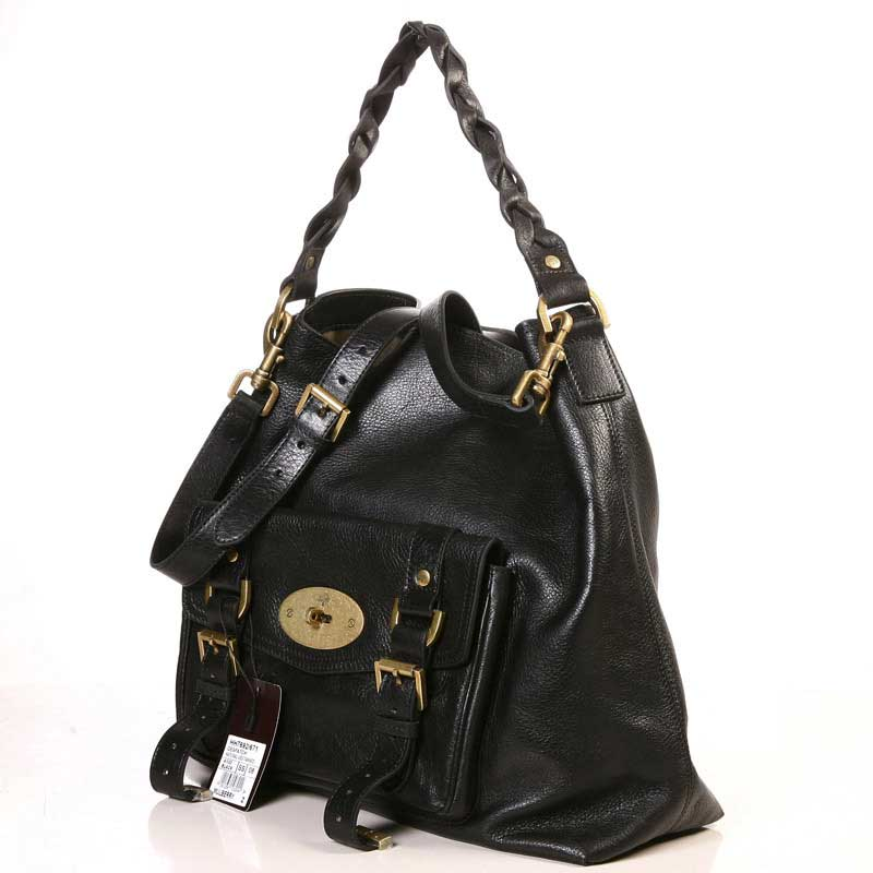 Mulberry Hobo Satchel Bag Natural Leather Black