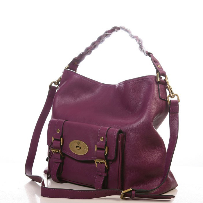Mulberry Hobo Satchel Bag Natural Leather Purple