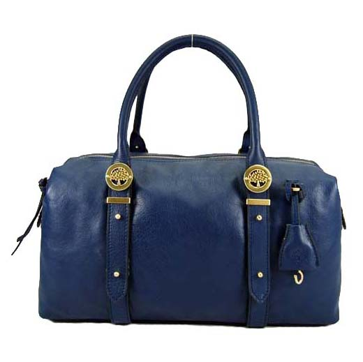 Mulberry Drew Clipper Holdalls Bag Soft Buffalo Leather Blue