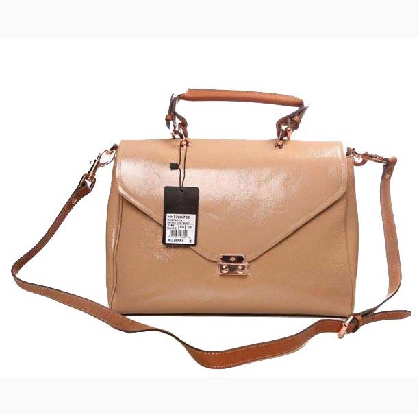 Mulberry Neely Shoulder Satchel Bag Patent Leather Apricot