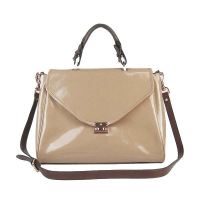 Mulberry Neely Shoulder Satchel Bag Patent Leather Beige