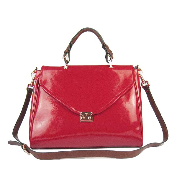 Mulberry Neely Shoulder Satchel Bag Patent Leather Red
