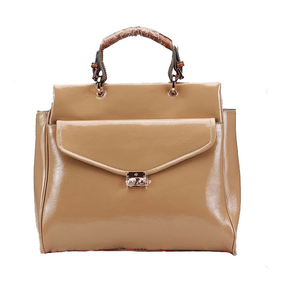 Mulberry Polly Push Lock Tote Bag Apricot
