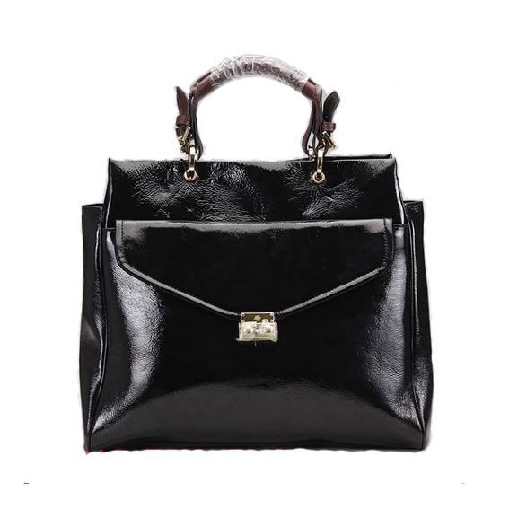 Mulberry Polly Push Lock Tote Bag Black