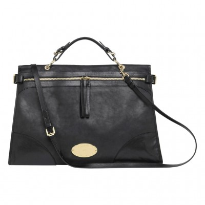 Mulberry Oversized Taylor Satchel Bag Smooth Leather Black