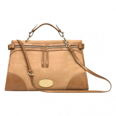 Mulberry Oversized Taylor Satchel Bag Smooth Leather Deer Brown