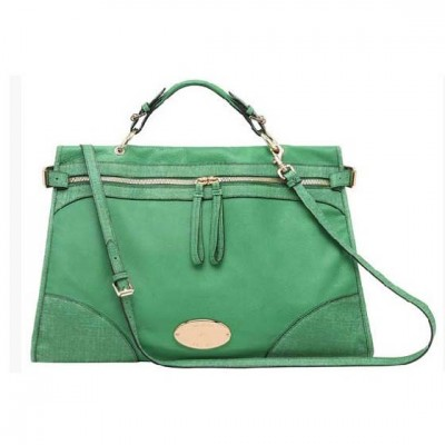 Mulberry Oversized Taylor Satchel Bag Smooth Leather Green