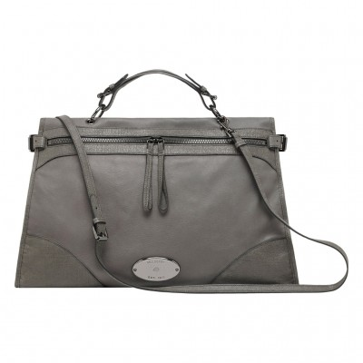 Mulberry Oversized Taylor Satchel Bag Smooth Leather Grey