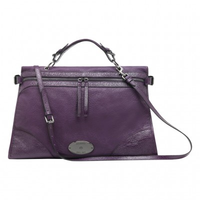 Mulberry Oversized Taylor Satchel Bag Smooth Leather Purple