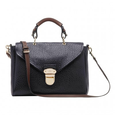 Mulberry Polly Push Lock Bag Shiny Grain Leather Black
