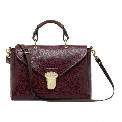 Mulberry Polly Push Lock Bag Shiny Grain Leather Conker