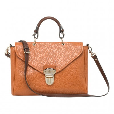 Mulberry Polly Push Lock Bag Shiny Grain Leather Pumpkin