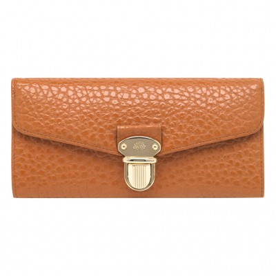 Mulberry Polly Push Lock Continental Wallets Pumpkin