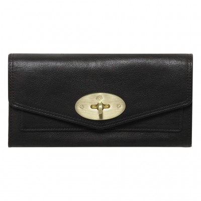 Mulberry Postman's Lock Continental Wallets Soft Buffalo Leather Black