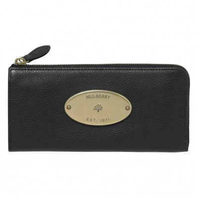 Mulberry Slim Wallets Natural Leather Black