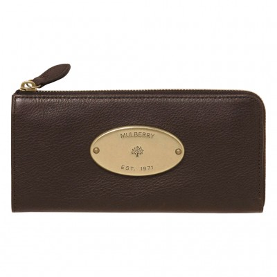Mulberry Slim Wallets Natural Leather Chocolate