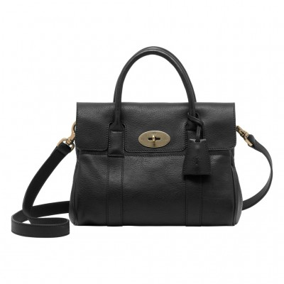 Mulberry Small Bayswater Satchel Bag Natural Leather Black