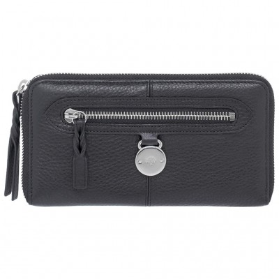 Mulberry Somerset Zip Around Purses Pebbled Leather Black