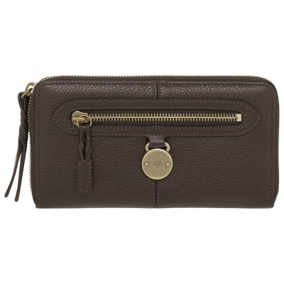 Mulberry Somerset Zip Around Purses Pebbled Leather Chocolate