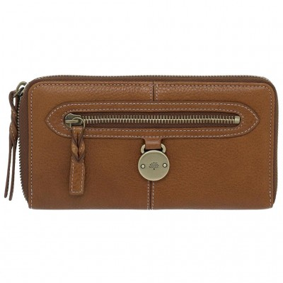 Mulberry Somerset Zip Around Purses Pebbled Leather Oak