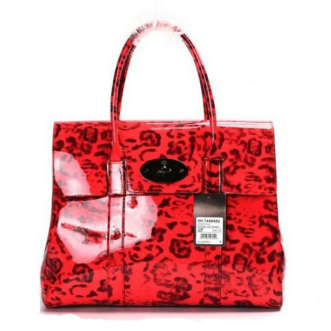Mulberry Bayswater HandBag Patent Leather Coral Red